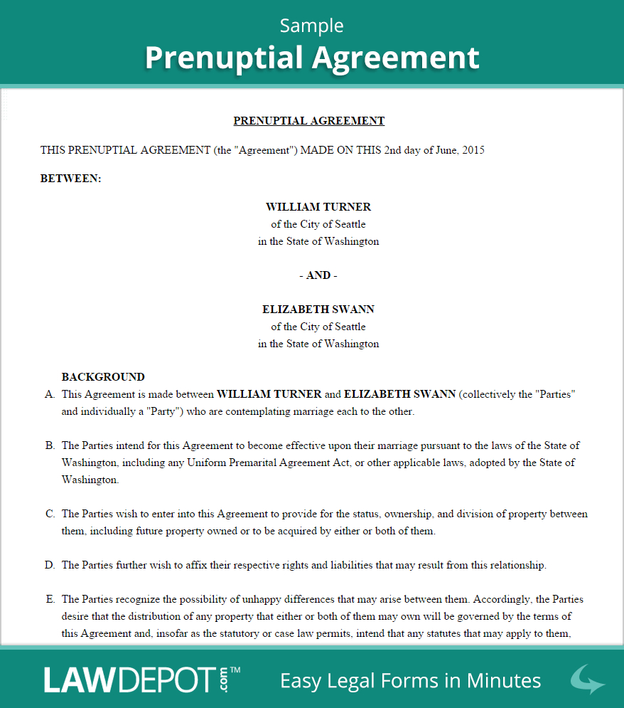 Free Prenuptial Agreement  Create Download And Print  Lawdepot Us In New York Prenuptial Agreement Template
