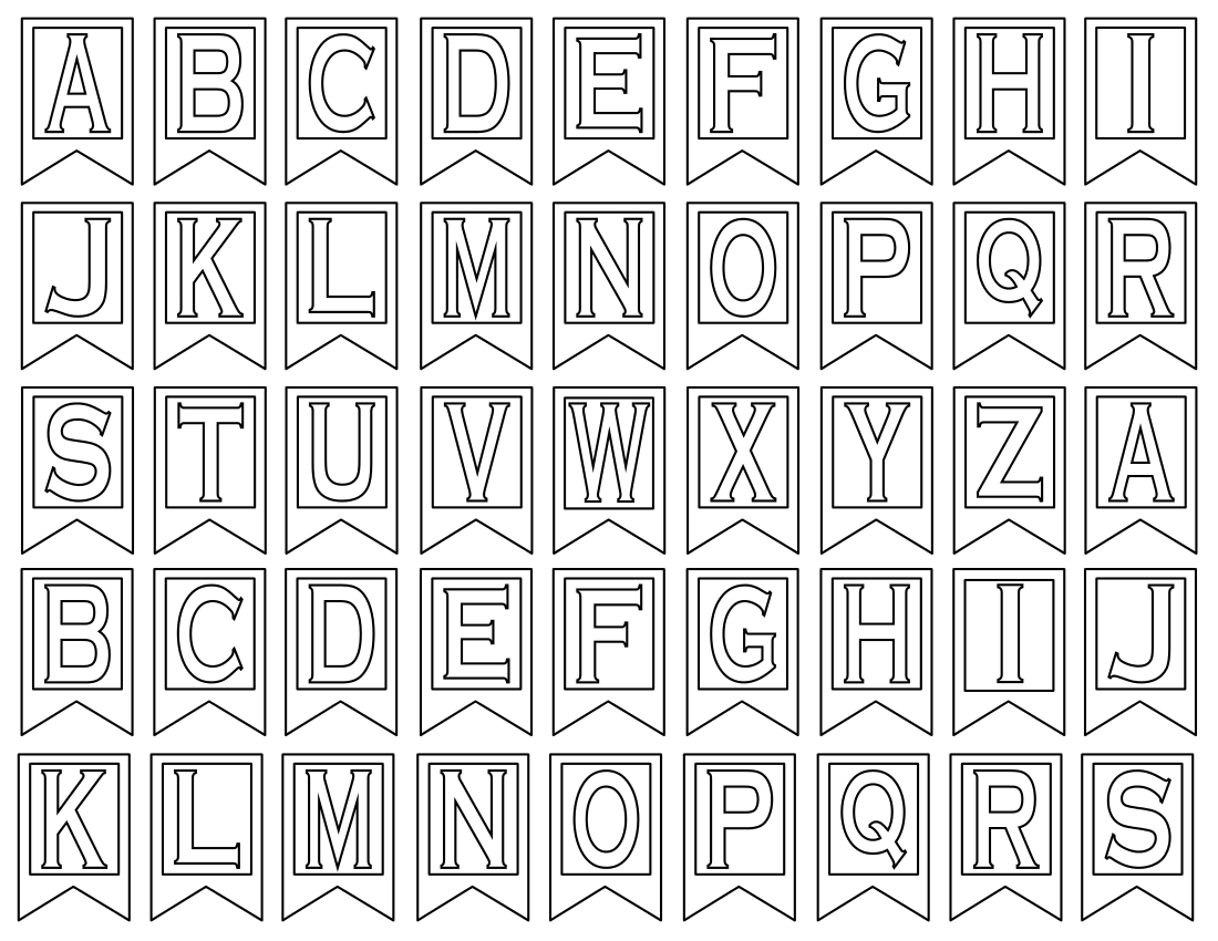 Free Printable Alphabet Letters  Banner Flag Letter Pdf Templates For Letter Templates For Banners