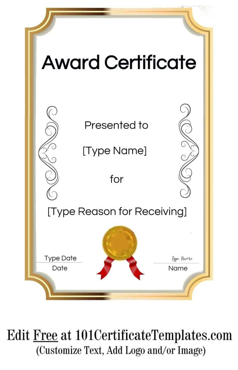 Free Printable Certificate Templates  Customize Online Pertaining To Template For Certificate Of Award