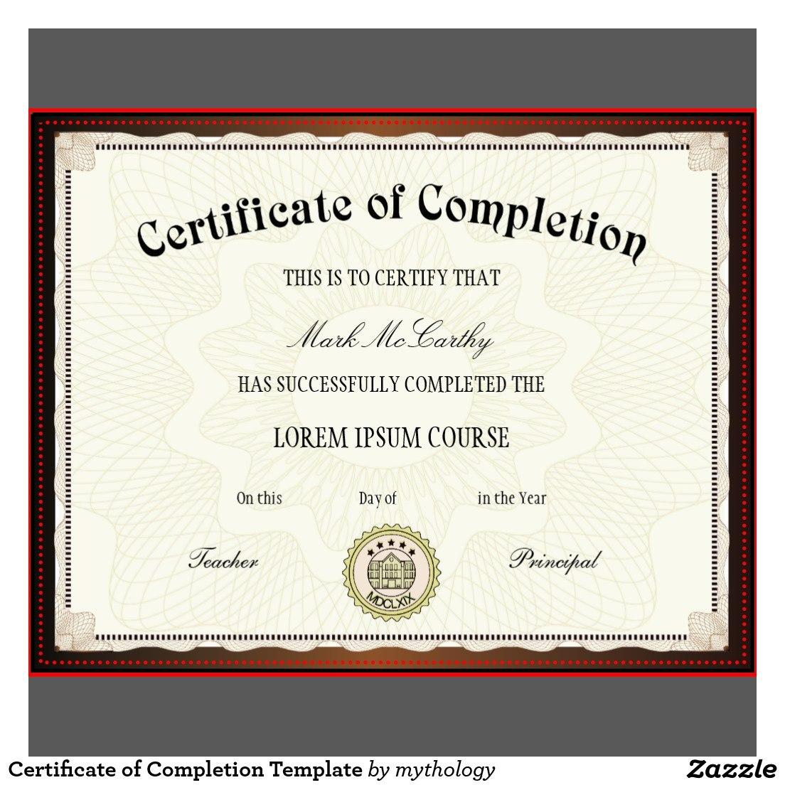 Free Printable Certificates  Certificate Templates For Certificate Of Completion Template Free Printable