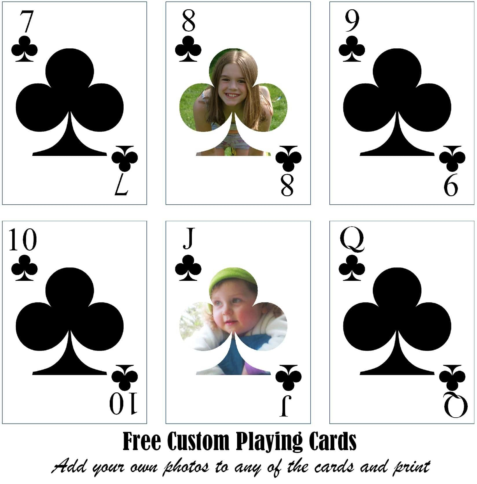 Free Printable Custom Playing Cards  Add Your Photo Andor Text Throughout Custom Playing Card Template