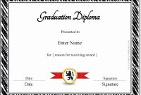Free Printable Diploma Template Best Of Graduation Certificate intended for Free Printable Graduation Certificate Templates