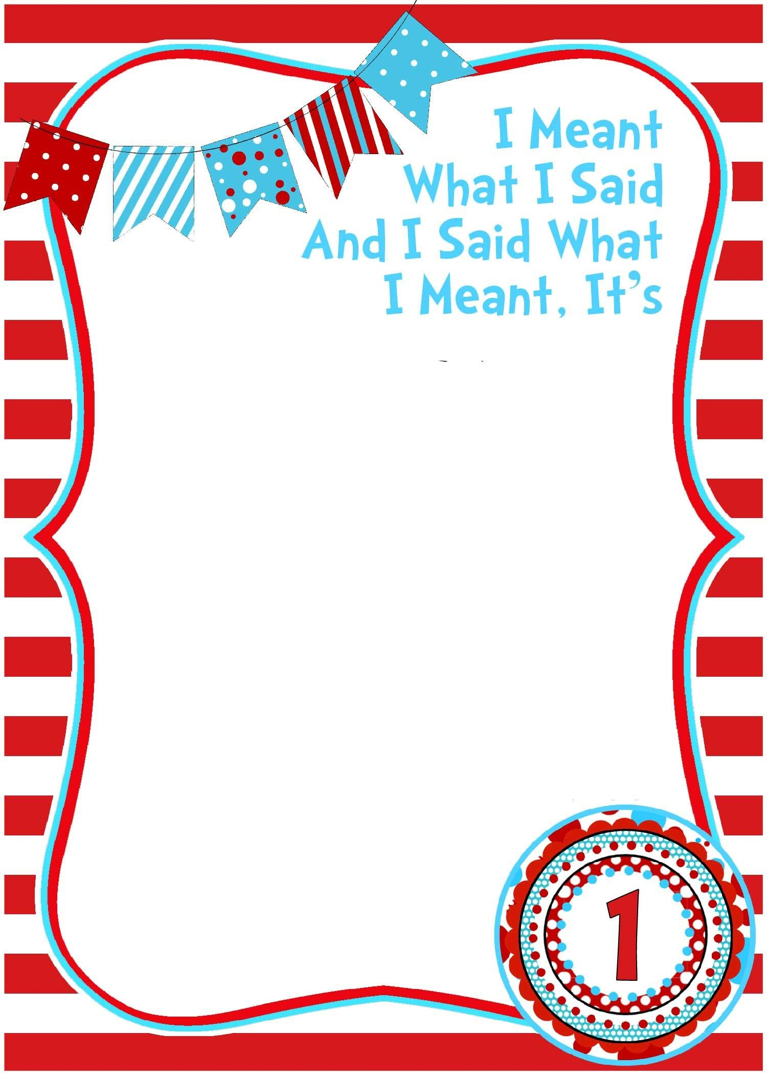 Free Printable Dr Seuss Birthday  Free Printable Birthday In Blank Cat In The Hat Template