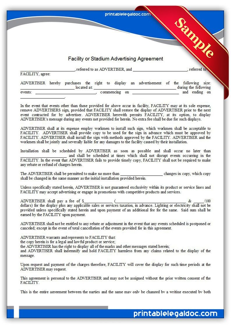 Free Printable Facility Or Stadium Advertising Agreement  Sample Within Free Online Advertising Agreement Template