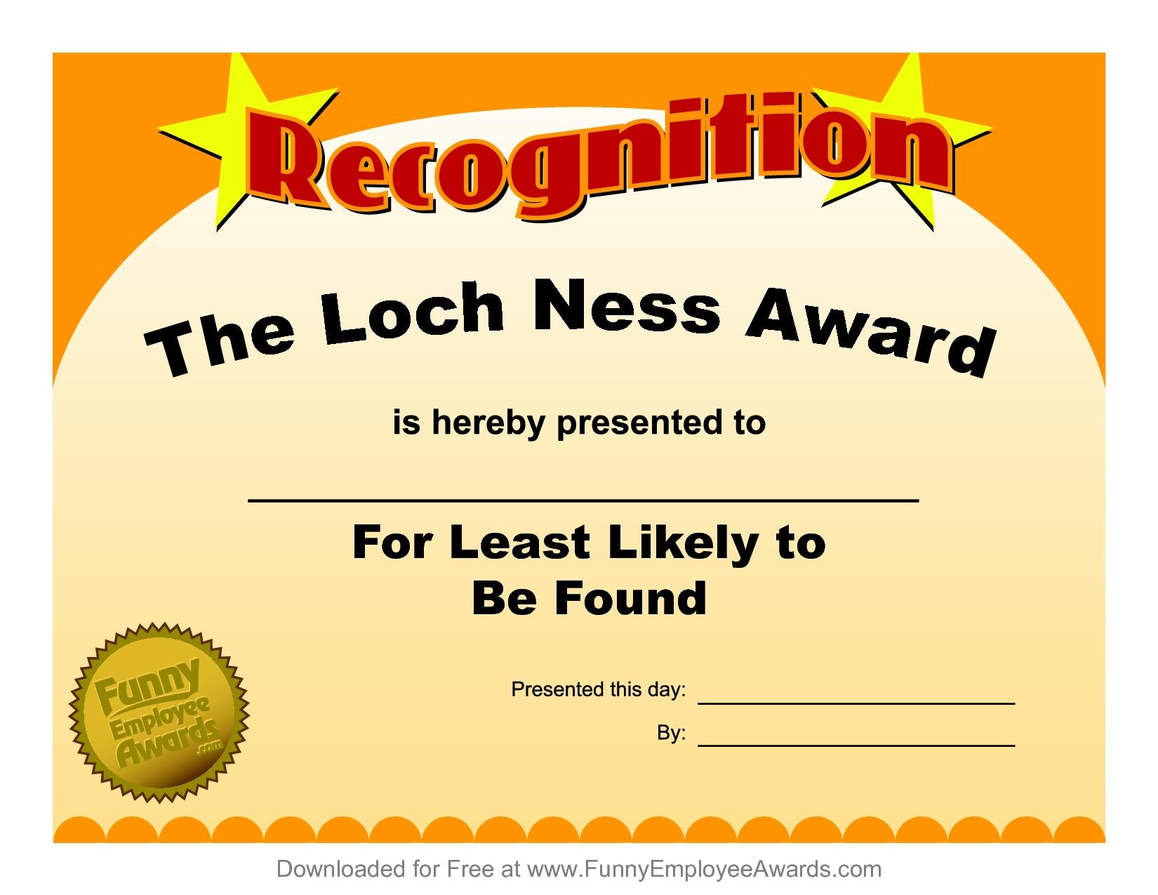 Free Printable Funny Employee Award Certificates  Toha Intended For Funny Certificates For Employees Templates