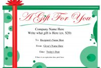Free Printable Gift Certificate Template  Free Christmas Gift regarding Fillable Gift Certificate Template Free