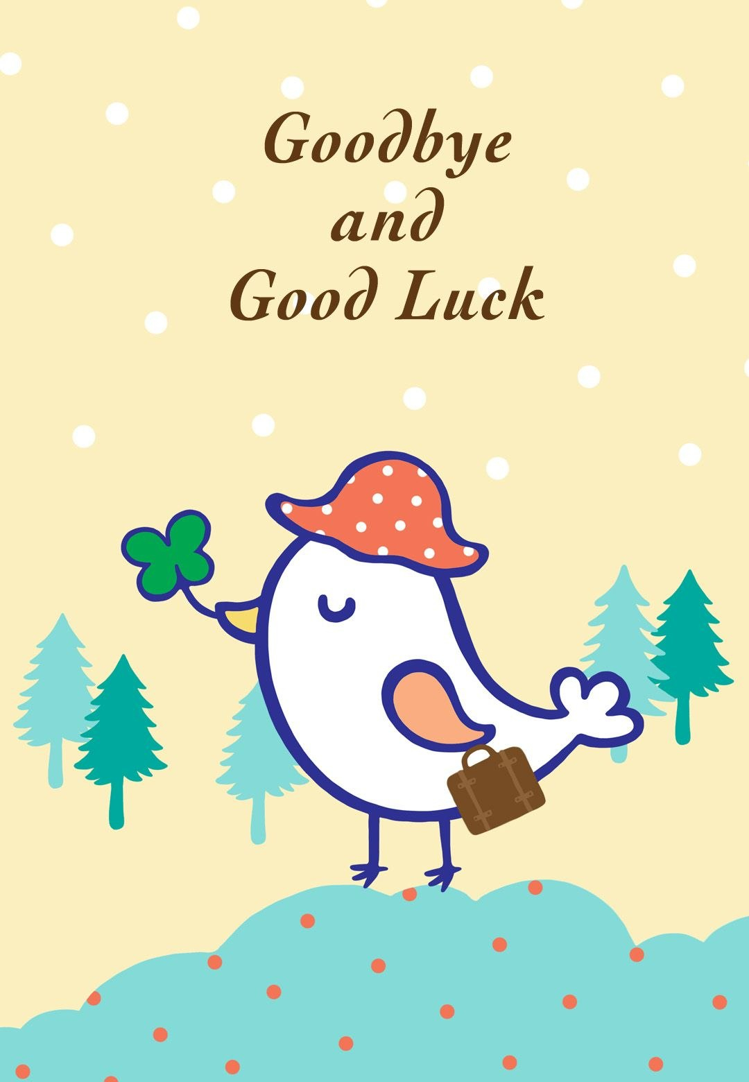 Free Printable Goodbye And Good Luck Greeting Card  Littlestar Within Good Luck Card Template