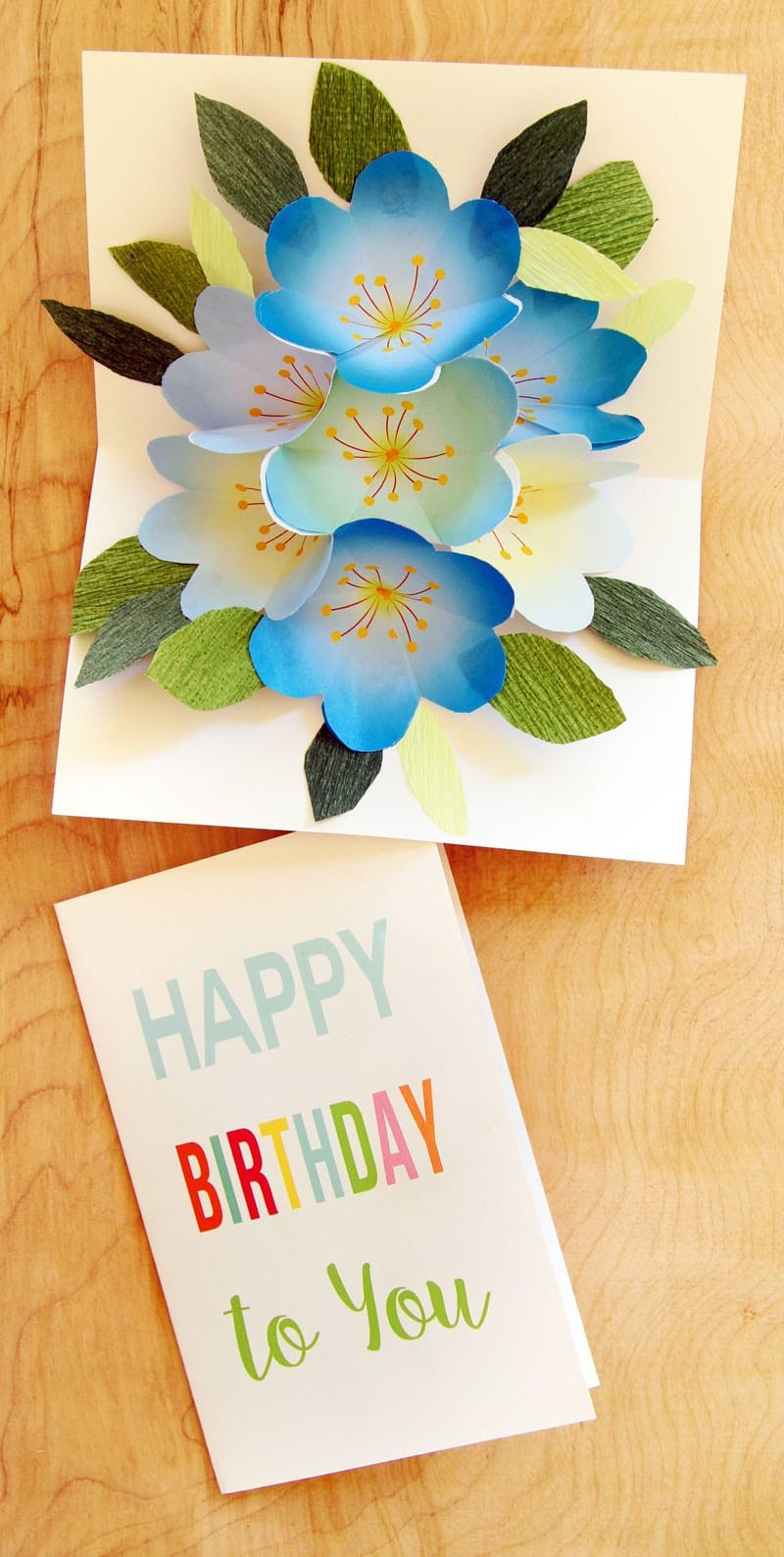 Free Printable Happy Birthday Card With Pop Up Bouquet  A Piece Of For Free Printable Pop Up Card Templates