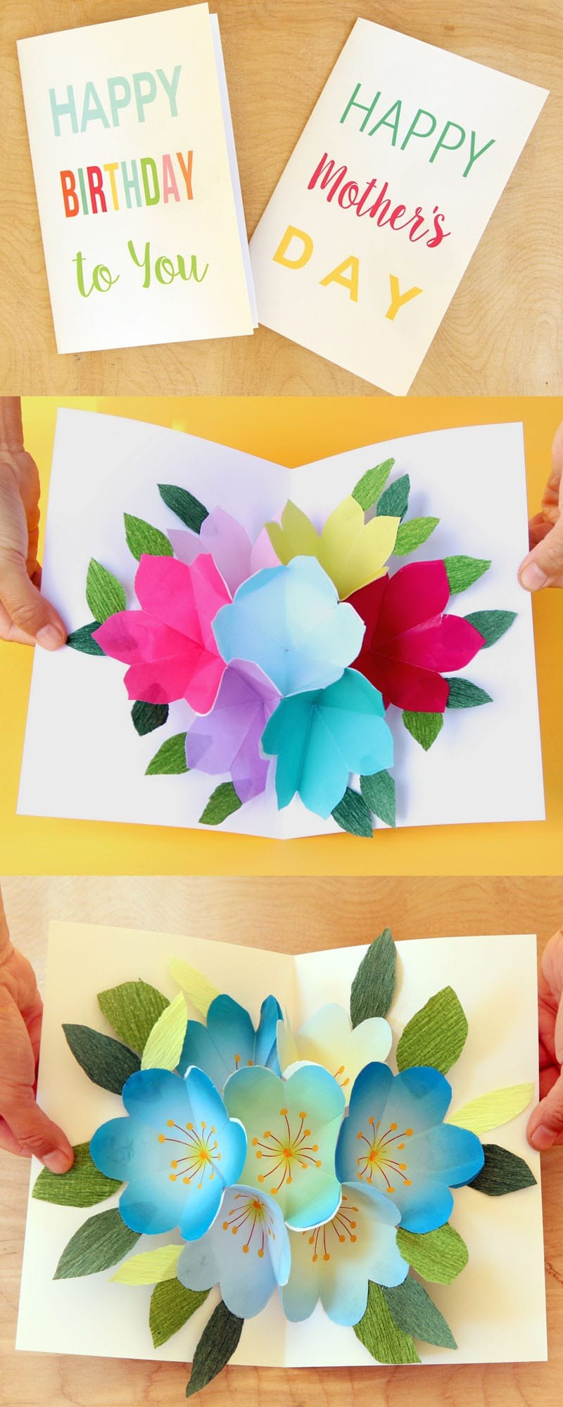 Free Printable Happy Birthday Card With Pop Up Bouquet  A Piece Of Within Free Printable Pop Up Card Templates