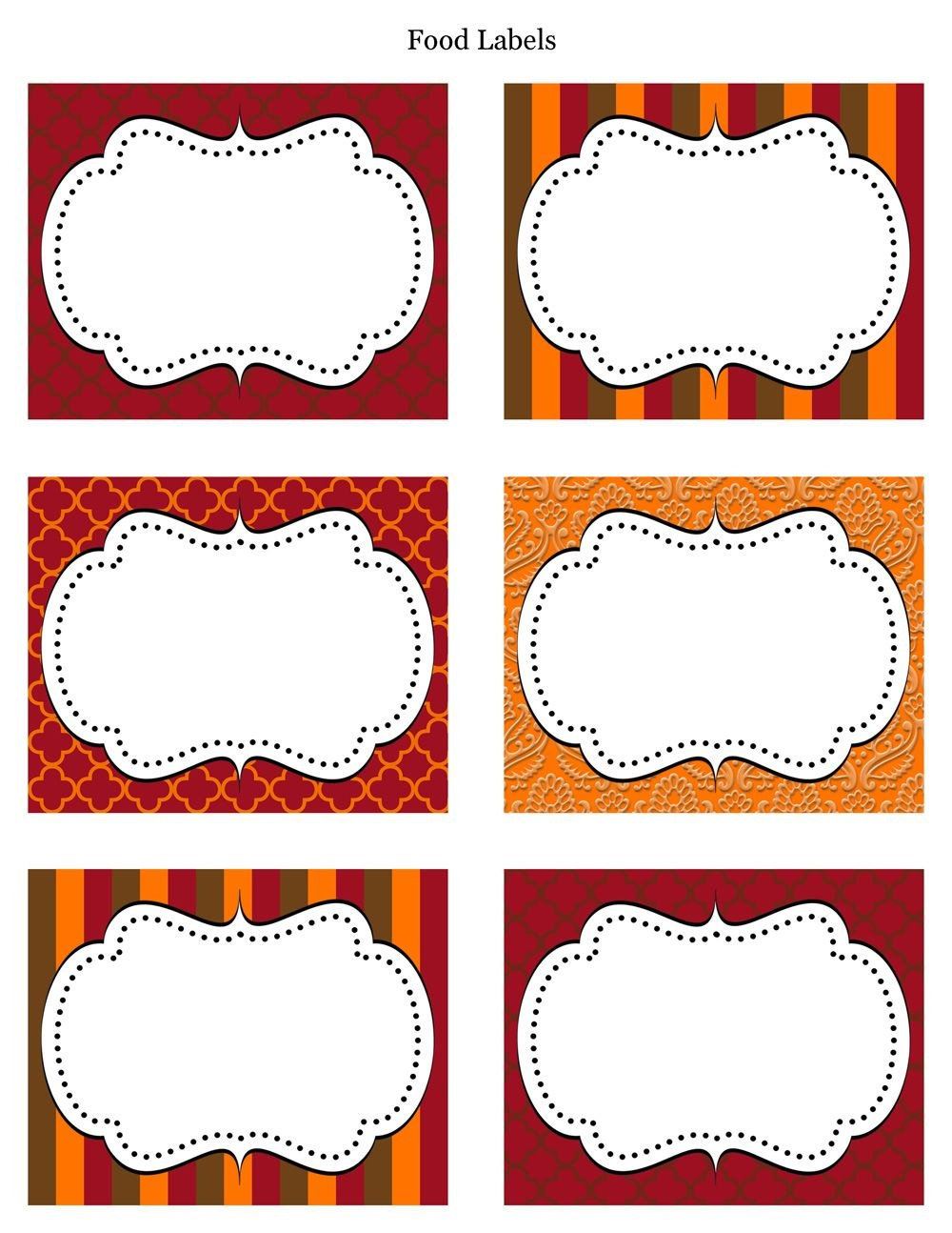 Free Printable Labels  Tags  For Food Buffet Just Printed Them With Regard To Decorative Label Templates Free