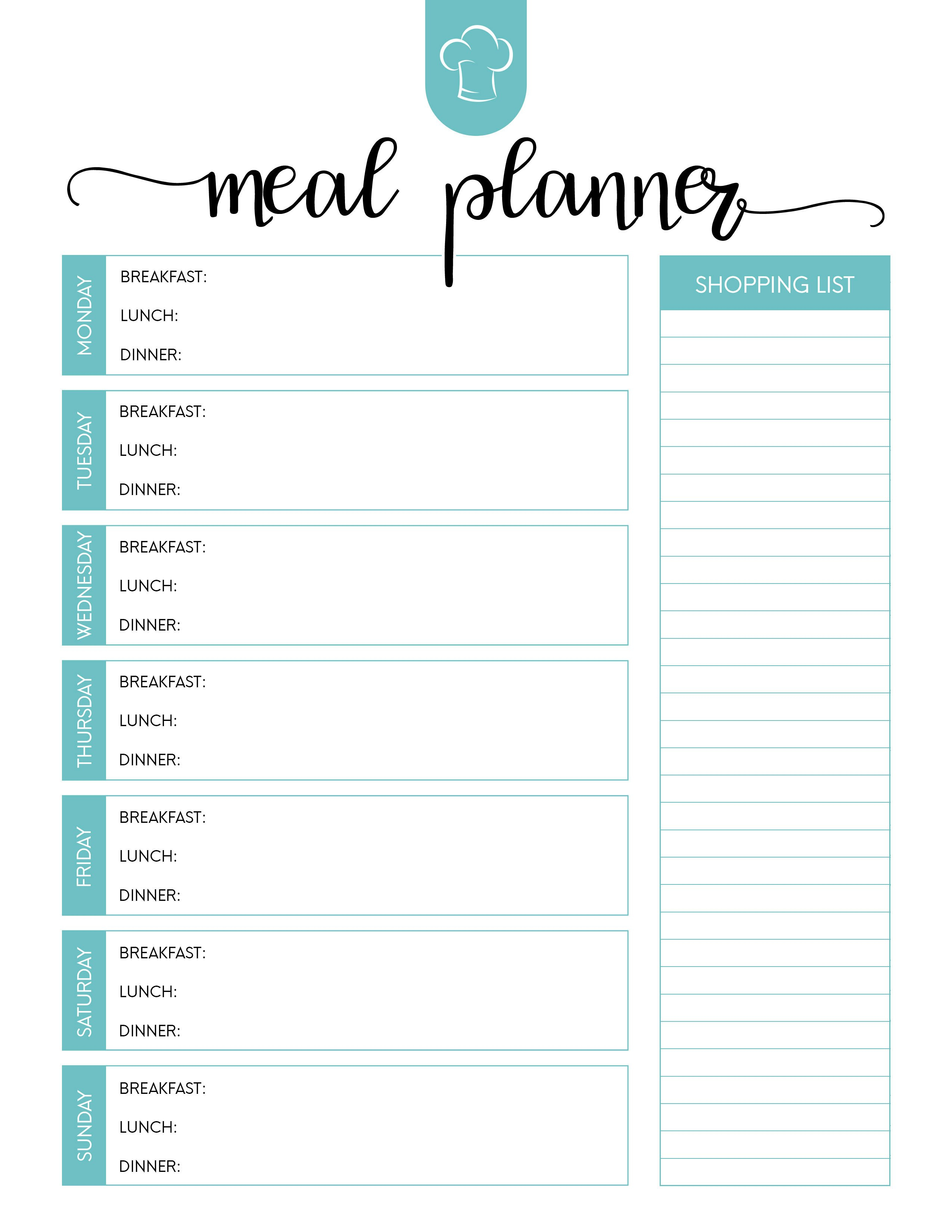 Free Printable Meal Planner Set  The Cottage Market Inside Weekly Meal Planner Template Word