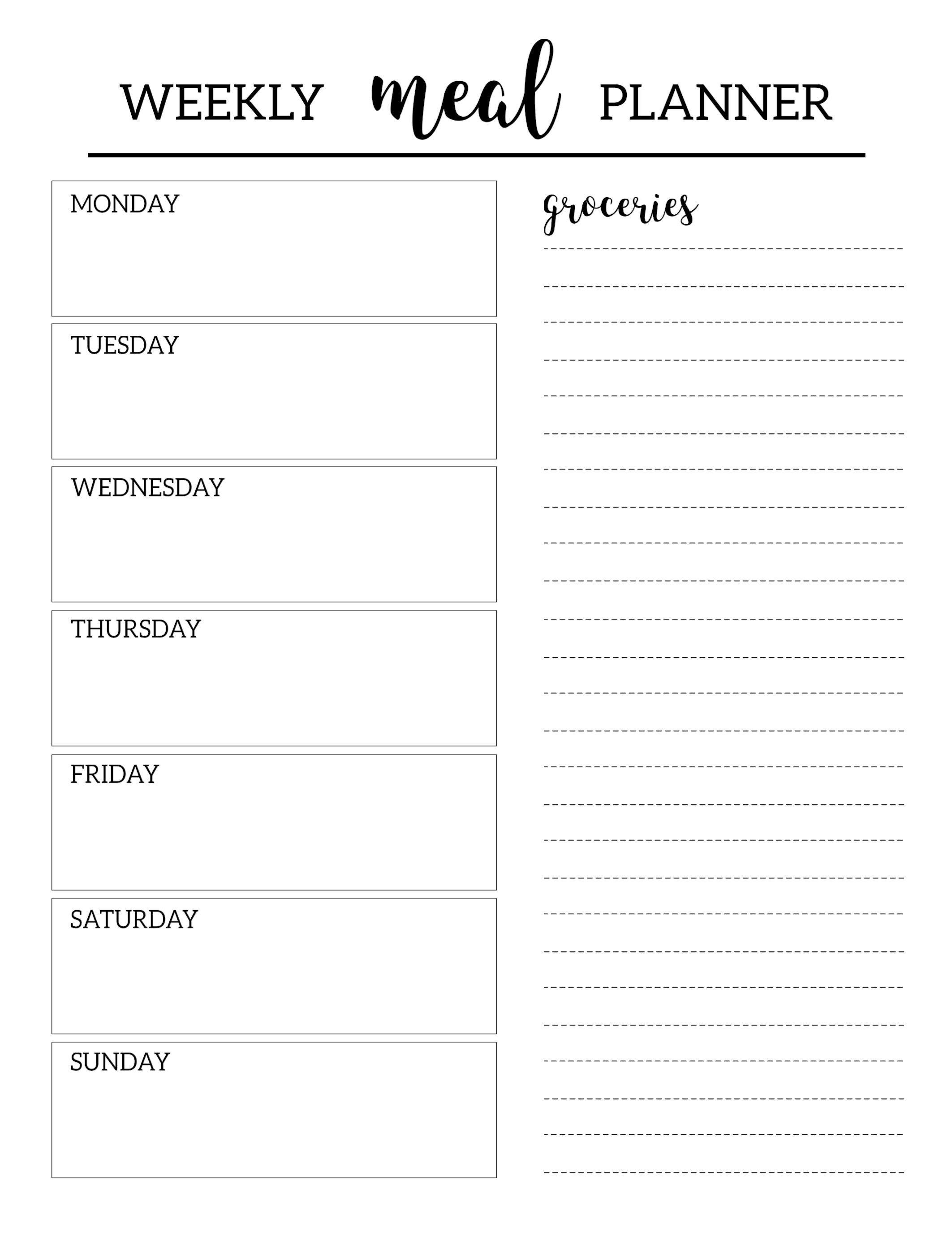 Free Printable Meal Planner Template  Organization  Meal Planner Inside Weekly Meal Planner Template Word