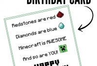 Free Printable Minecraft Birthday Card  Papercrafting  Birthday for Minecraft Birthday Card Template