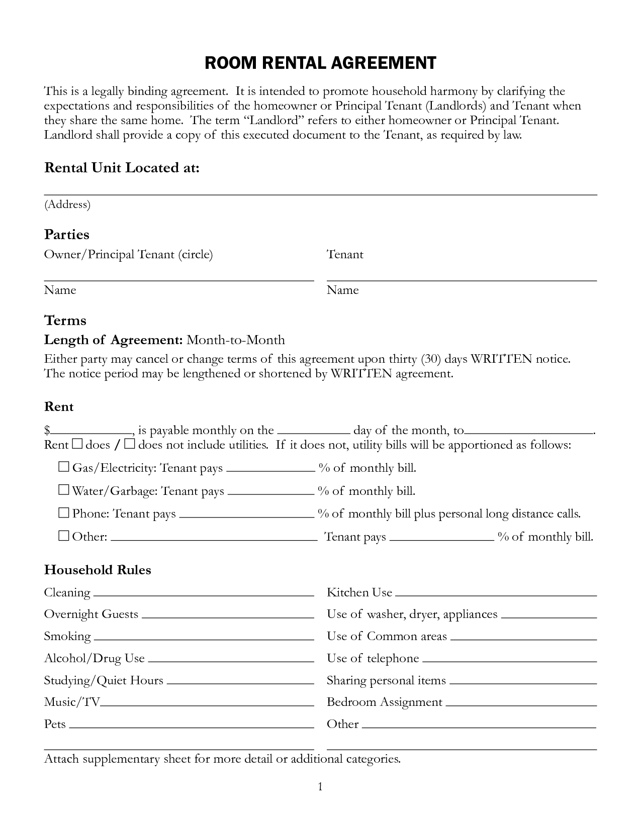 Free Printable Rental Lease Agreement Form Template  Bagnas Intended For House Share Tenancy Agreement Template