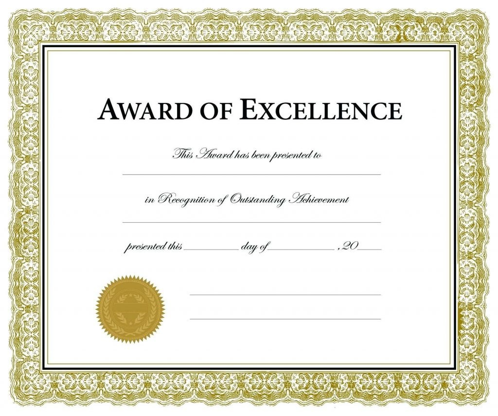 Free Printable Soccer Certificate Templates Award Template Word Throughout Certificate Of Excellence Template Word