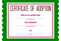 Free Printable Stuffed Animal Adoption Certificate  Free Printables within Pet Adoption Certificate Template