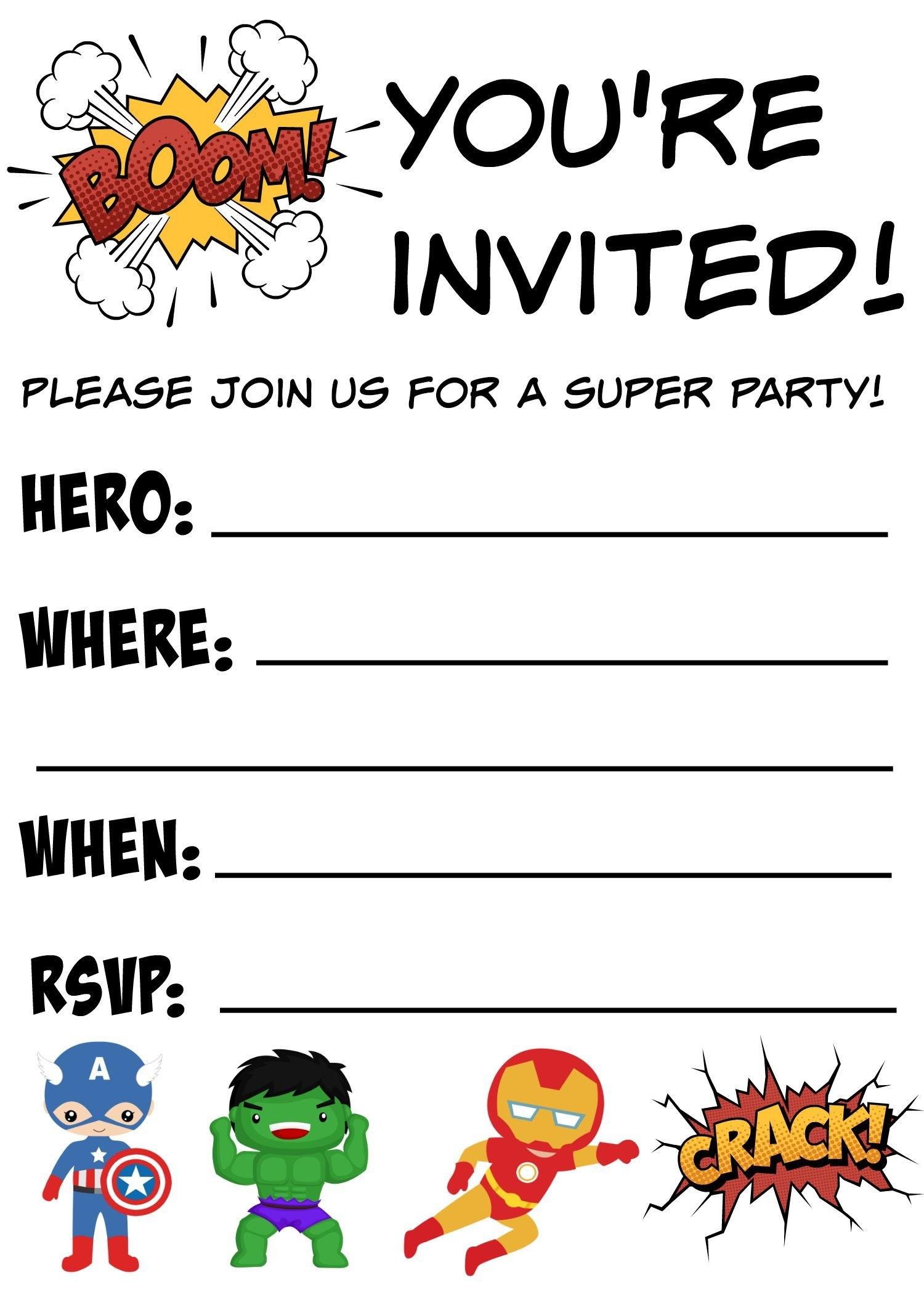 Free Printable Superhero Birthday Invitations  Birthdays With Regard To Superhero Birthday Card Template