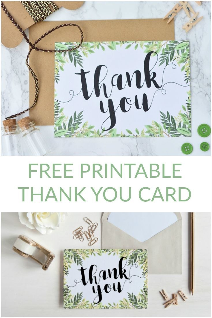 Free Printable Thank You Botanical Inspired Card  Wedding In Template For Wedding Thank You Cards