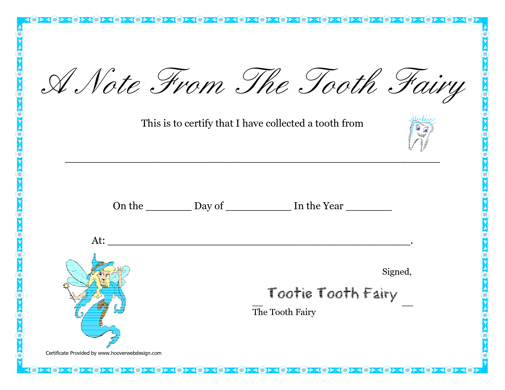 Free Printable Tooth Fairy Letter  Tooth Fairy Certificate Pertaining To Free Tooth Fairy Certificate Template