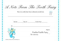 Free Printable Tooth Fairy Letter  Tooth Fairy Certificate With Tooth Fairy Certificate Template Free