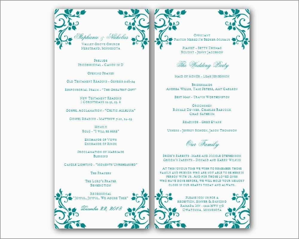 Free Printable Wedding Program Templates For Word Cute Free For Free Printable Wedding Program Templates Word