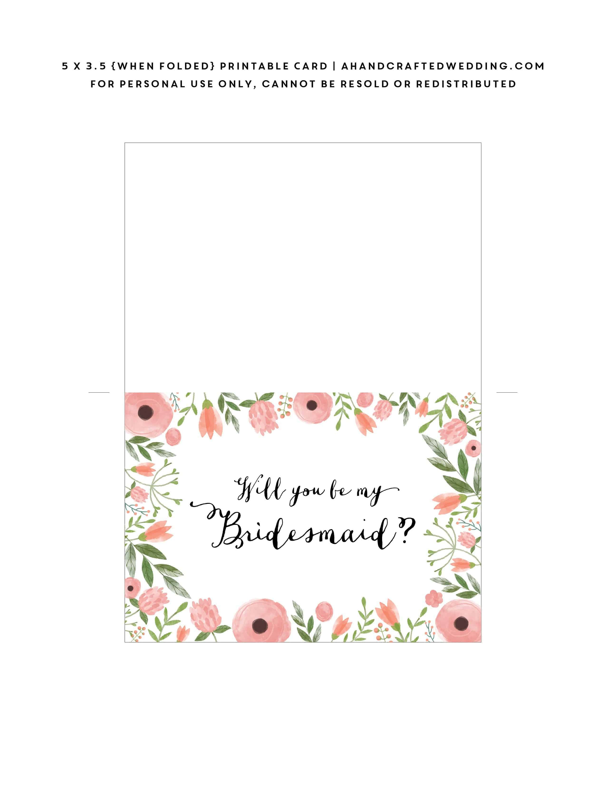 Free Printable Will You Be My Bridesmaid Card  Mountain Modern Life In Will You Be My Bridesmaid Card Template