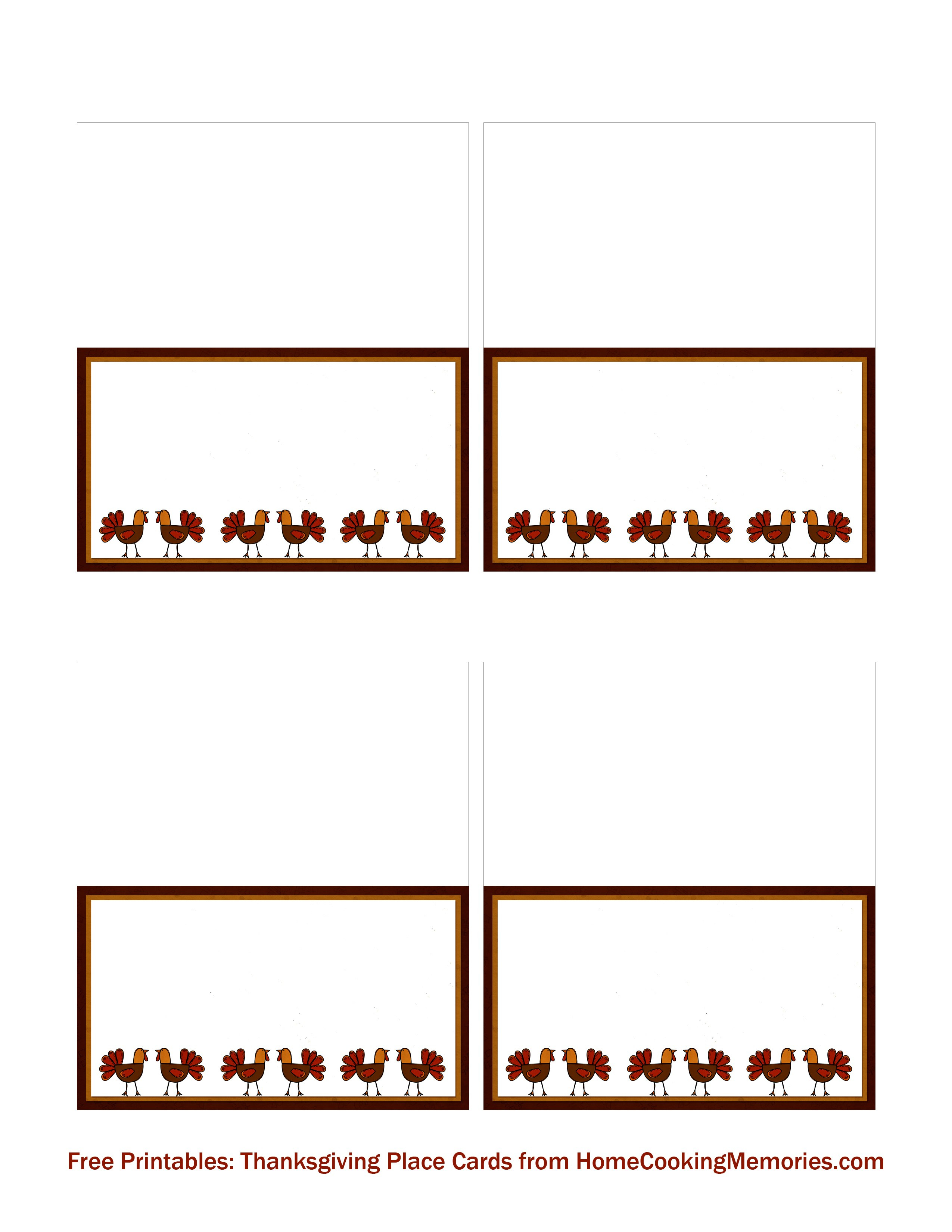 Free Printables Thanksgiving Place Cards  Home Cooking Memories With Regard To Free Template For Place Cards 6 Per Sheet