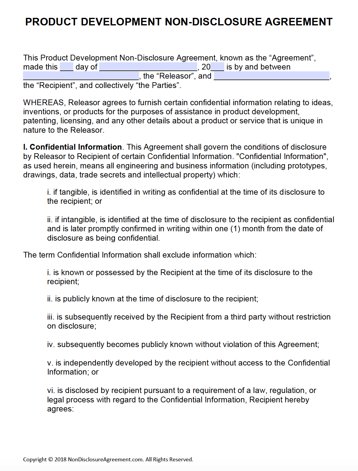 Free Product Development Nondisclosure Agreement Nda – Pdf – Word Intended For Brand Development Agreement Template