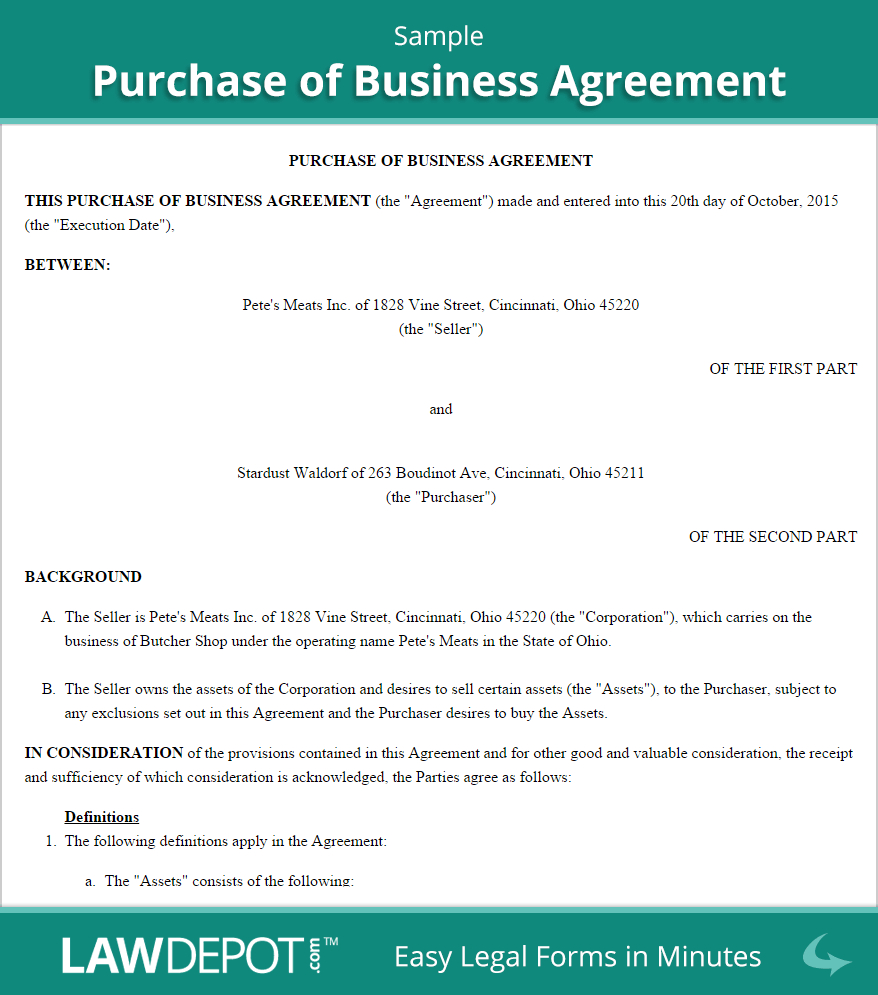 Free Purchase Of Business Agreement  Create Download And Print Within Share Purchase Agreement Template Uk