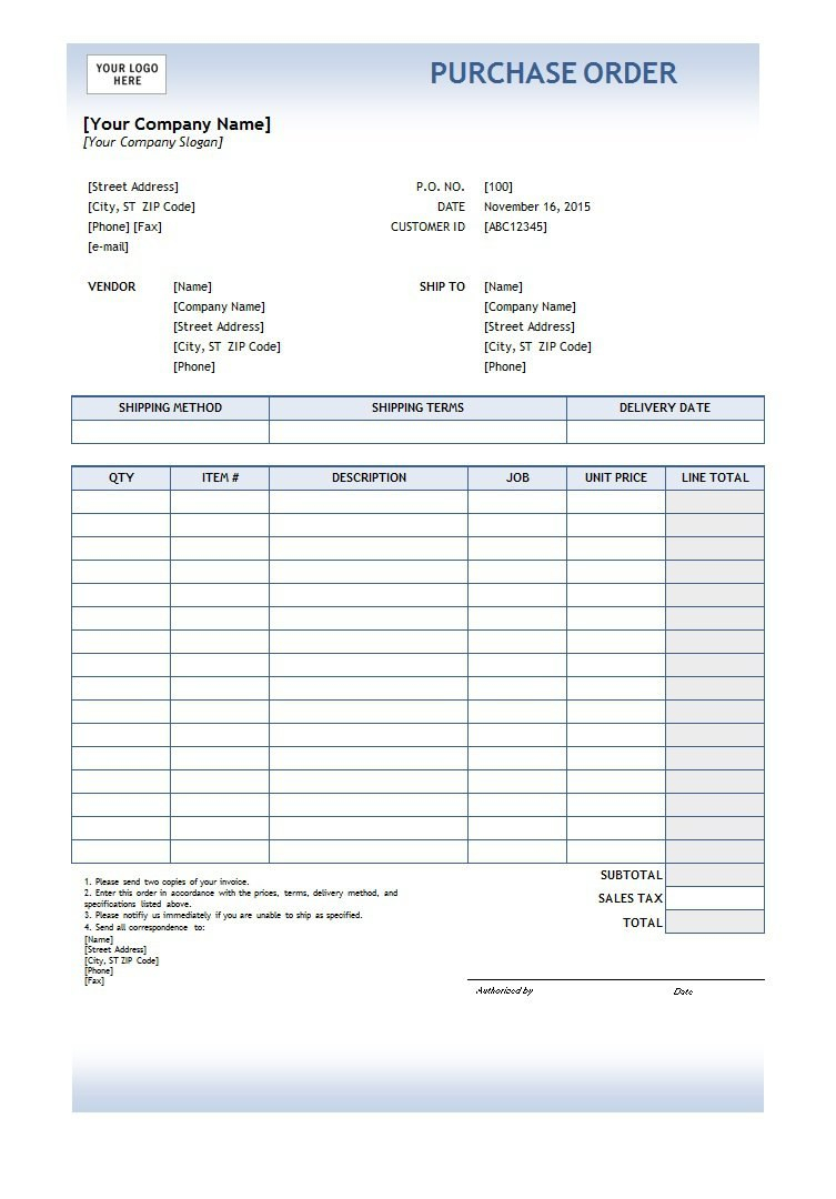 Free Purchase Order Templates In Word  Excel In Net 30 Terms Agreement Template