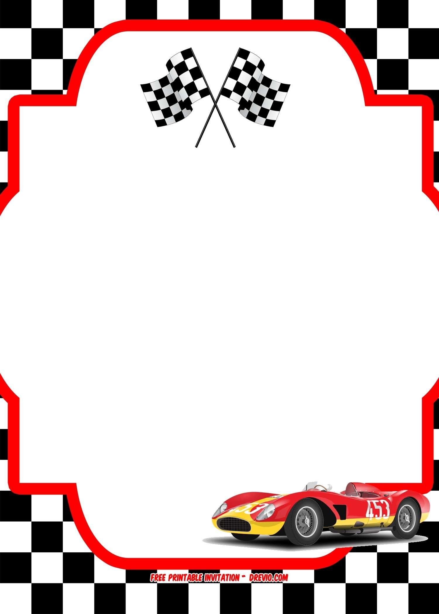 Free Race Car Birthday Invitation Template   Free Printable Inside Blank Race Car Templates