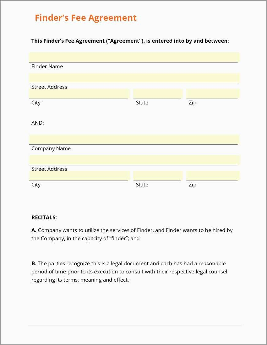 Free Real Estate Referral Form Template Pretty Business Form For Real Estate Finders Fee Agreement Template
