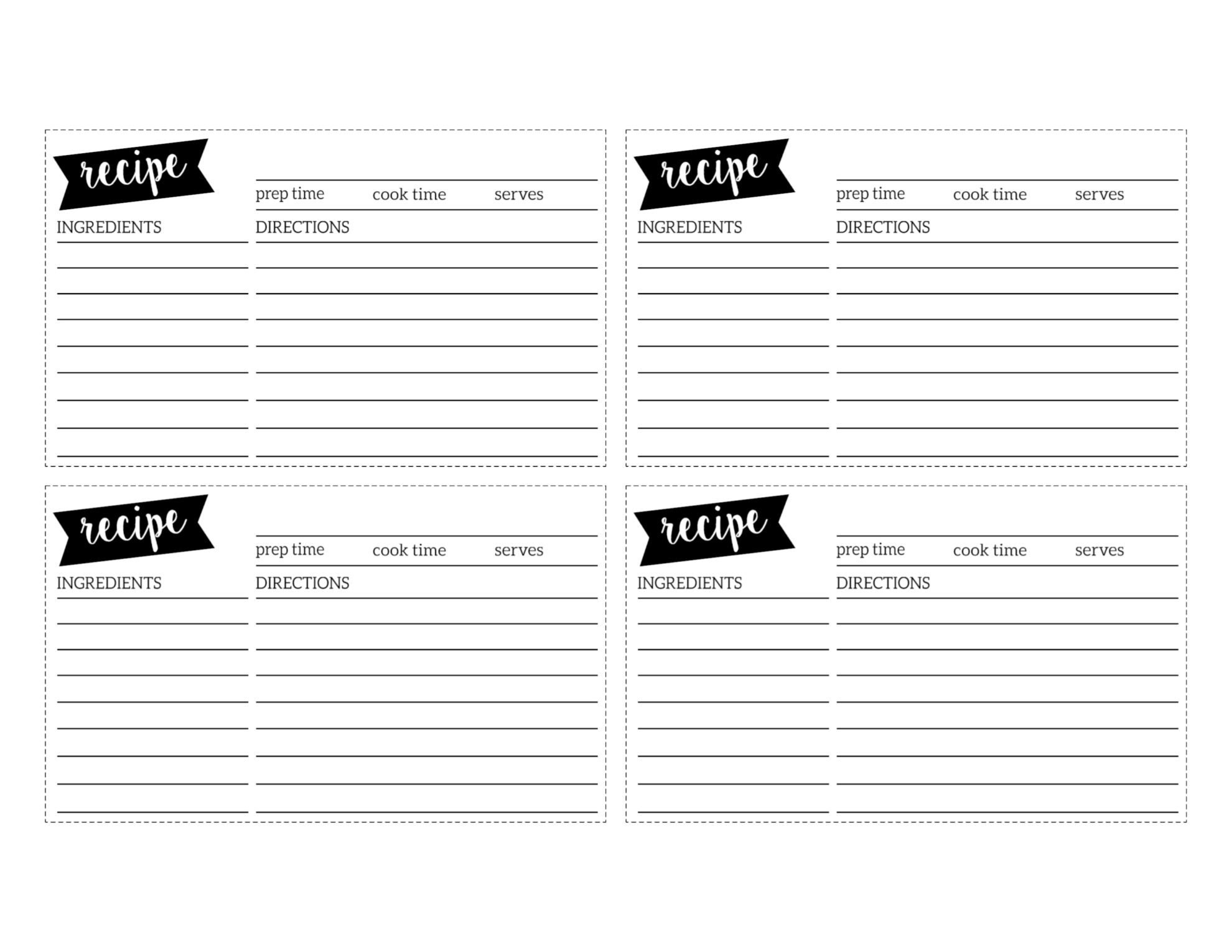 Free Recipe Card Template Printable  Paper Trail Design Pertaining To Template For Cards To Print Free