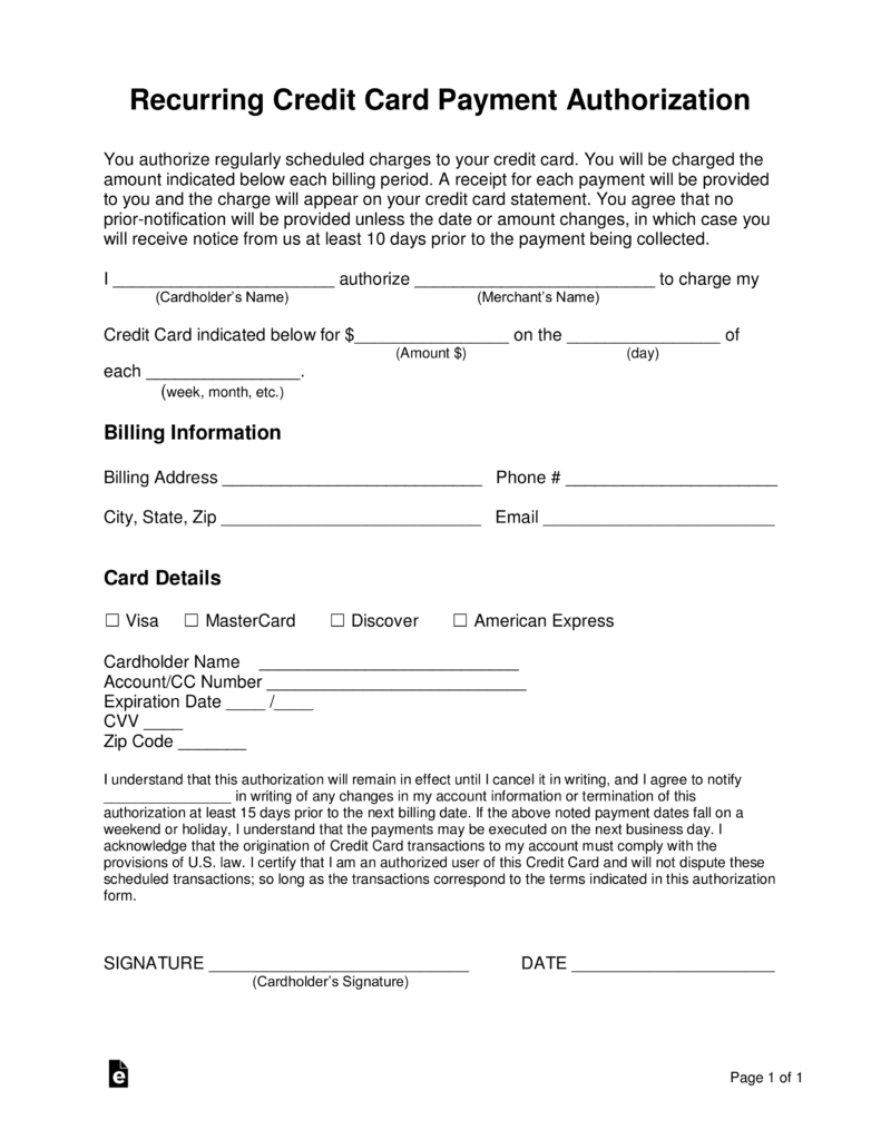 Free Recurring Credit Card Authorization Form  Word  Pdf  Eforms Throughout Credit Card Billing Authorization Form Template