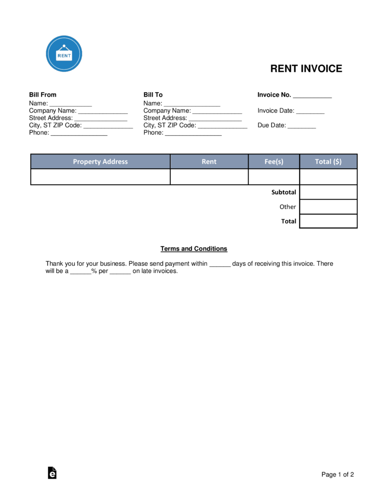 Free Rental Monthly Rent Invoice Template  Word  Pdf  Eforms With Monthly Rent Invoice Template