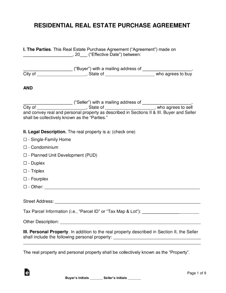 Free Residential Real Estate Purchase Agreements  Word  Pdf In Simple Land Sale Agreement Template