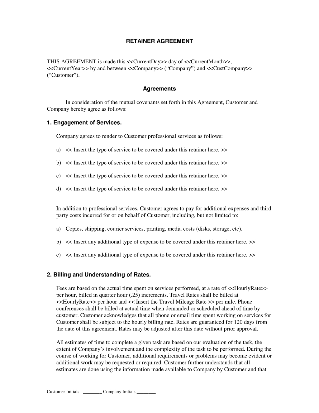 Free Retainer Agreement Template For Selfemployed  Bonsai  Bonsai For Design Retainer Agreement Templates