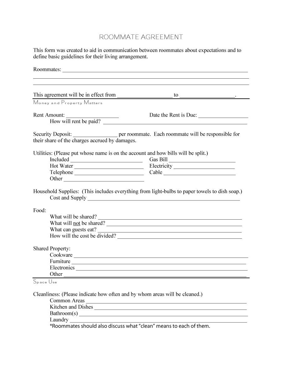 Free Roommate Agreement Templates  Forms Word Pdf Inside House And Flat Share Agreement Contract Template