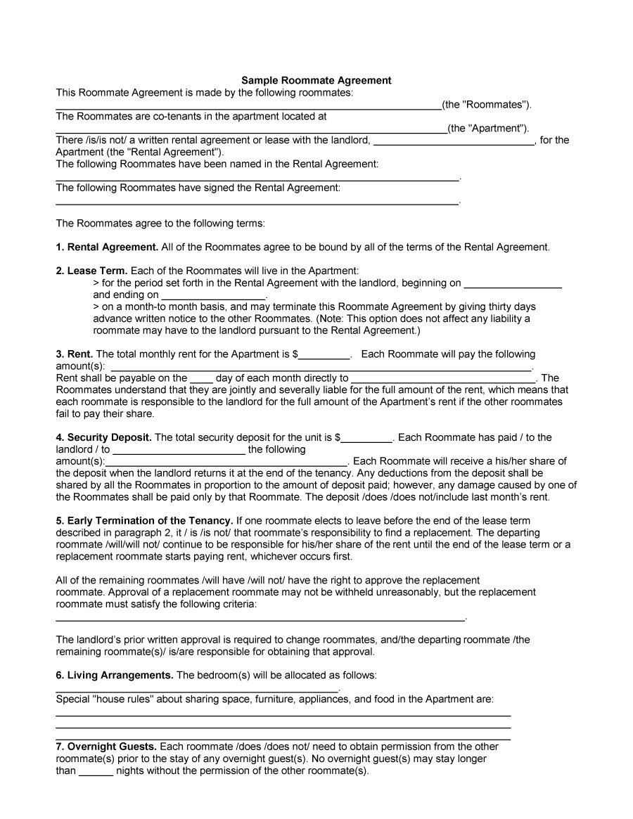 Free Roommate Agreement Templates  Forms Word Pdf Pertaining To Free Roommate Rental Agreement Template