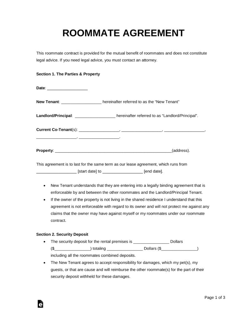 Free Roommate Room Rental Agreement Template  Pdf  Word  Eforms Throughout Free Roommate Lease Agreement Template