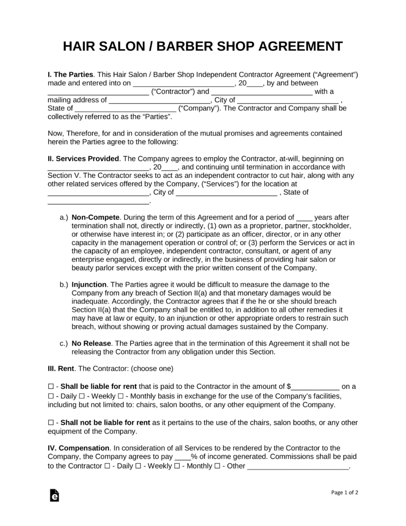 Free Salon Independent Contractor Agreement Template  Pdf  Word With Beauty Salon Booth Rental Agreement Template