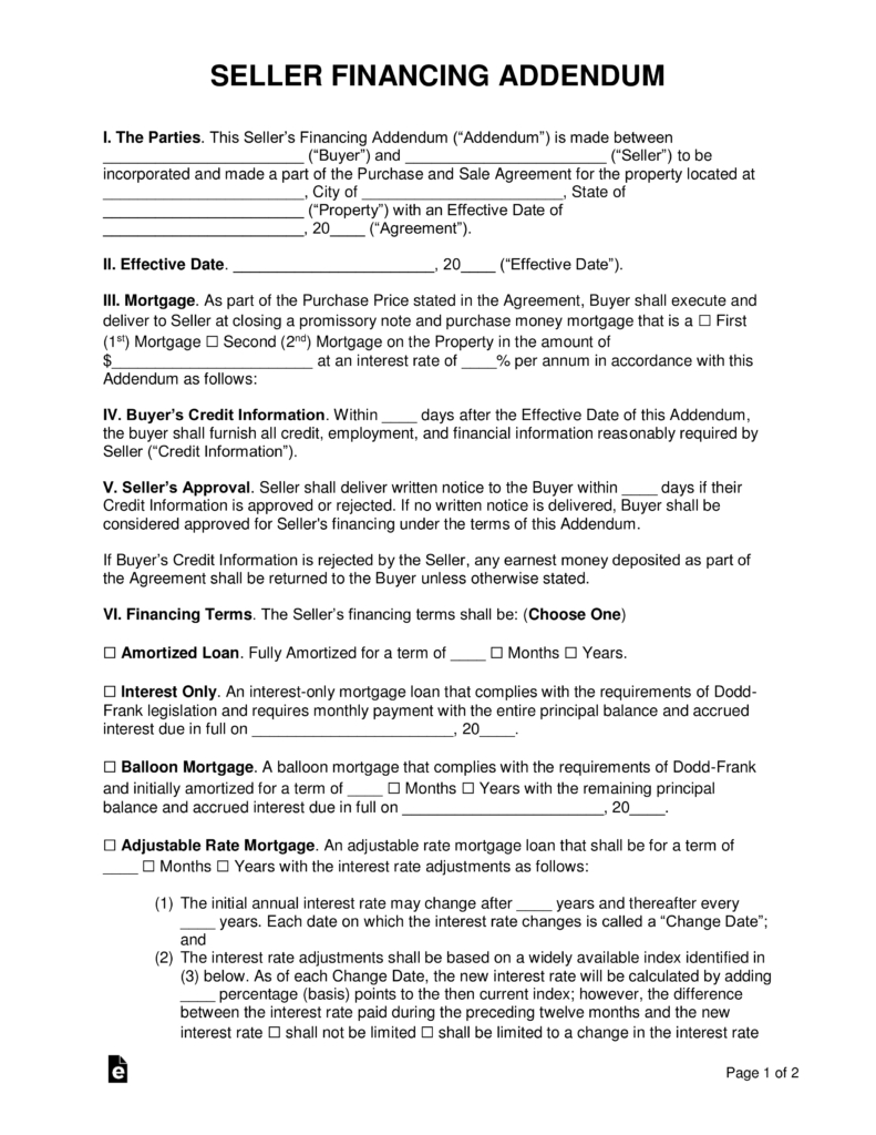 Free Seller Financing Addendum To Purchase Agreement  Pdf  Word In Credit Purchase Agreement Template