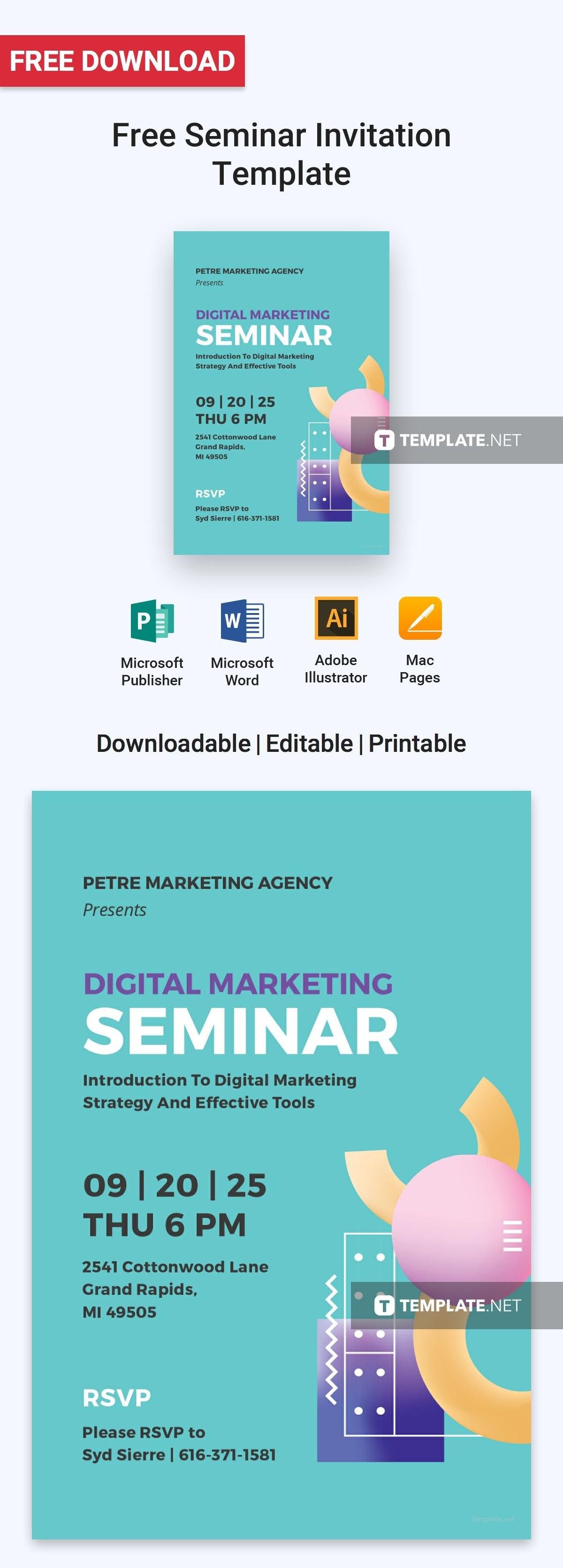 Free Seminar Invitation  Design  Invitations Invitation Design With Seminar Invitation Card Template