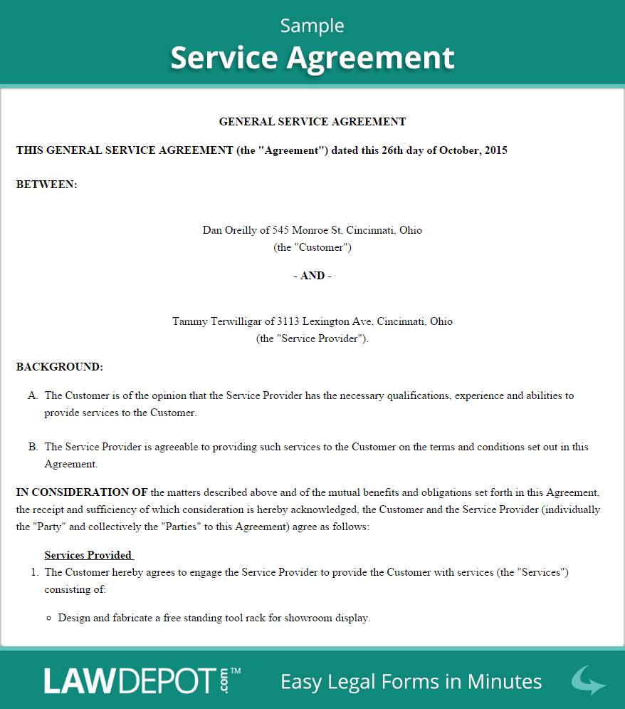 Free Service Agreement  Create Download And Print  Lawdepot Us Within Contract For Service Agreement Template