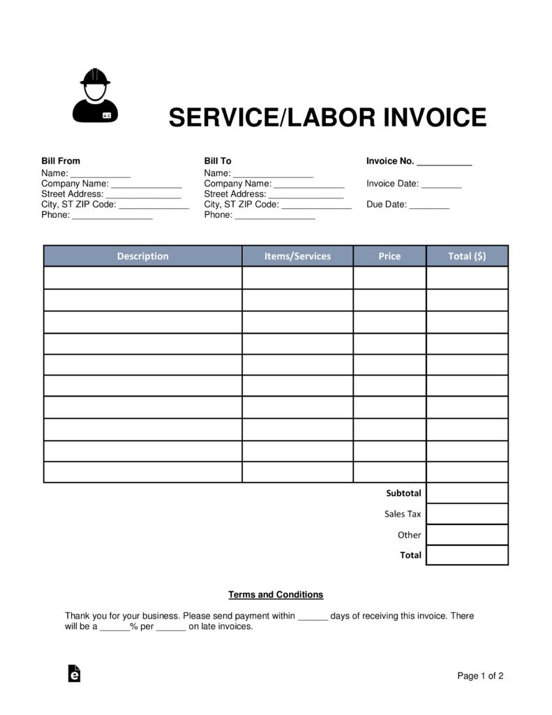 Free Servicelabor Invoice Template  Word  Pdf  Eforms – Free Within Labor Invoice Template Word