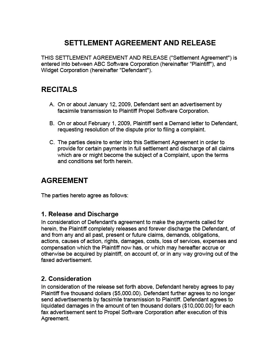 Free Settlement Agreement Templates Divorcedebtemployment Inside Settlement Agreement And Release Of All Claims Template
