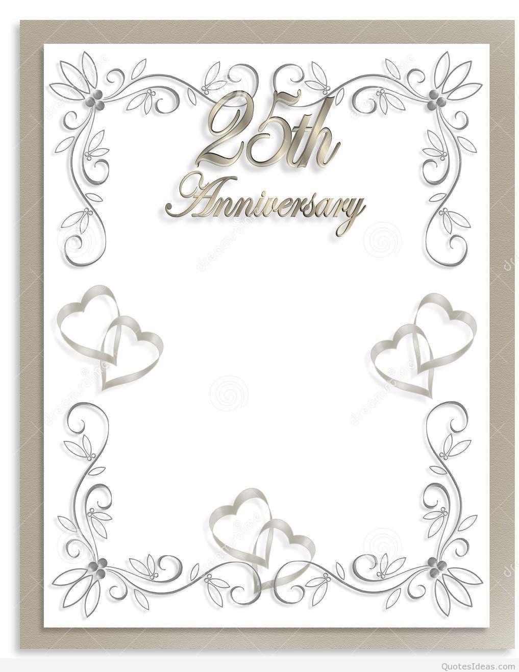 Free Silver Wedding Anniversary Invitations Templates  Templates In Template For Anniversary Card