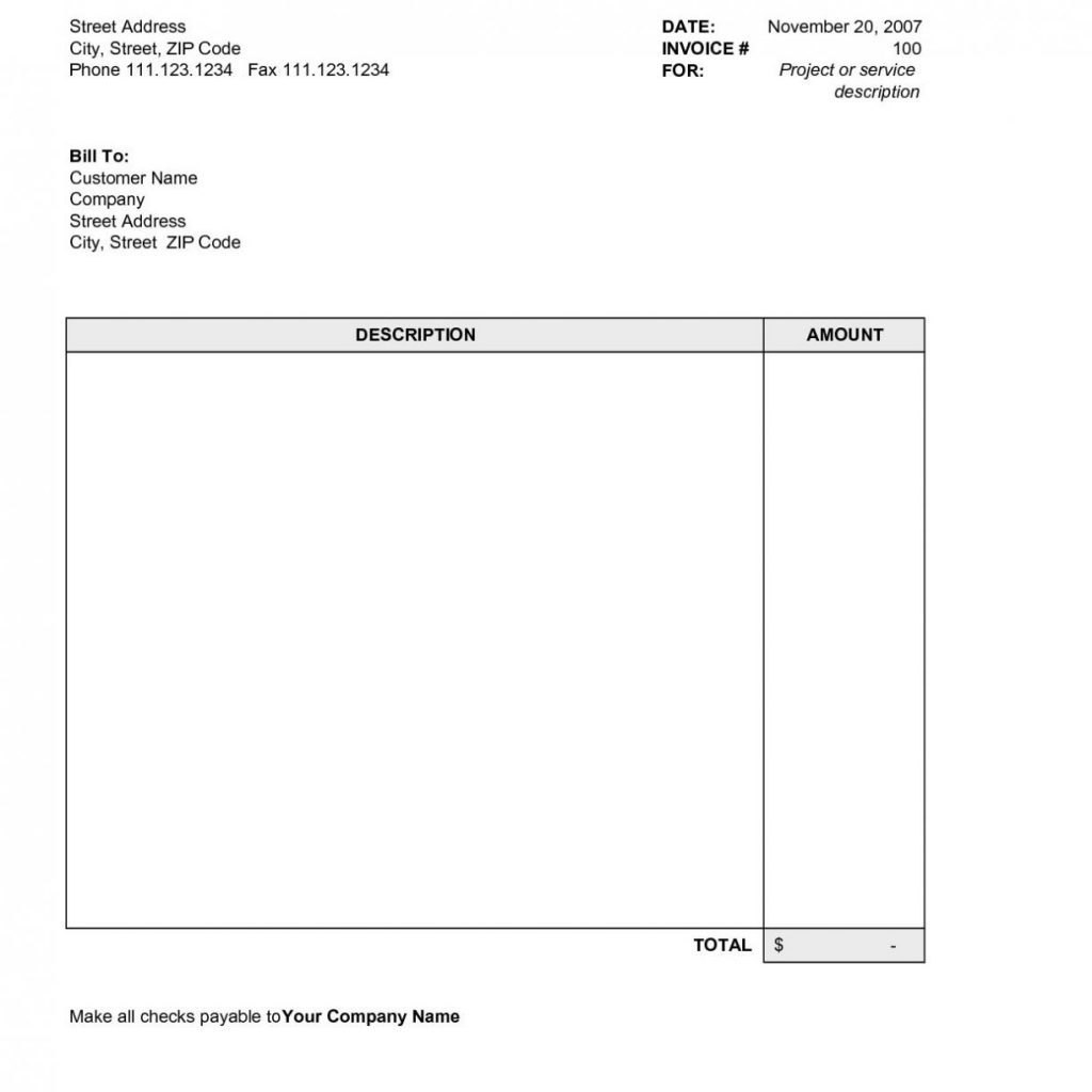 Free Simple Invoice Template Excel With Uk Plus Invoices Templates Throughout Sample Invoice Template Word