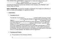 Free Single Member Llc Operating Agreement Template  Pdf  Word throughout Corporation Operating Agreement Template