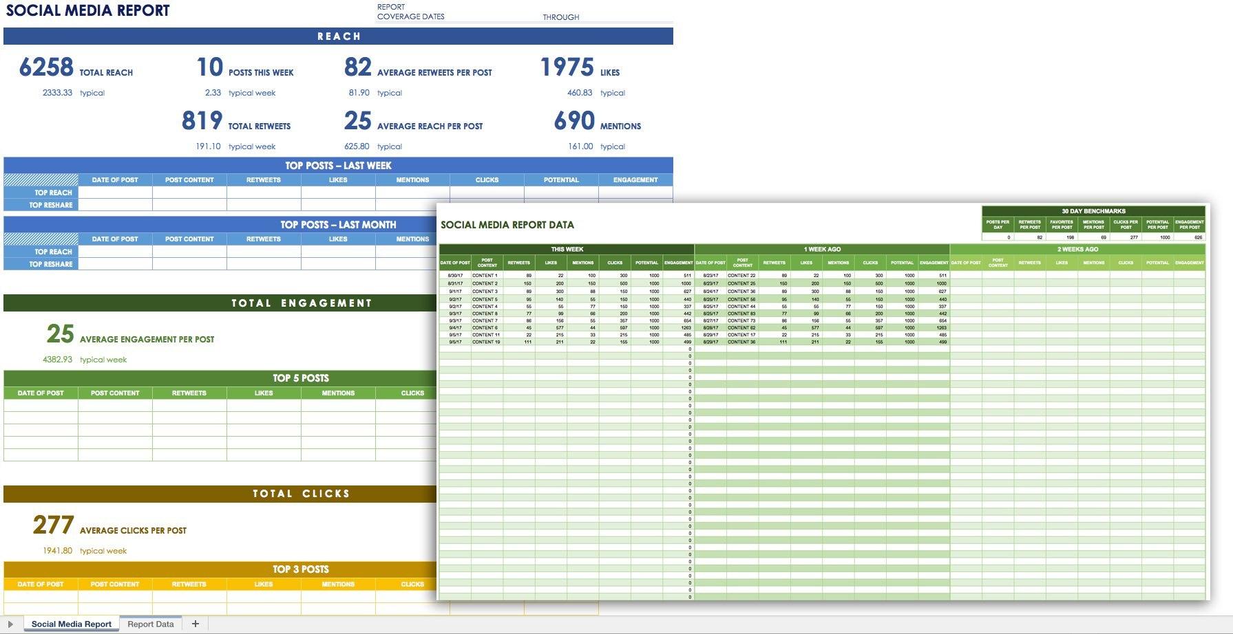 Free Social Media Templates  Smartsheet With Weekly Social Media Report Template